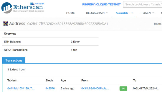 Rinkeby Etherscan before