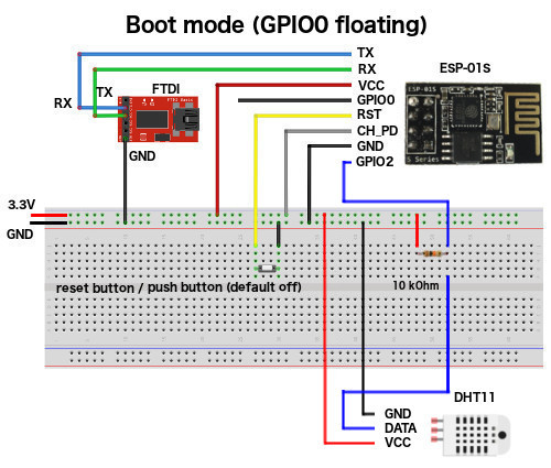 DHT11 ESP01S FTDI wiring for boot mode