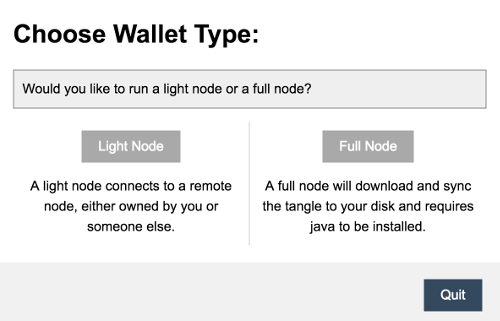 Choose IOTA wallet type