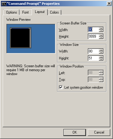 Windows terminal screen buffer size